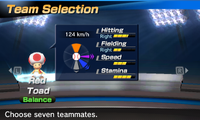 Red Toad's stats in the baseball portion of Mario Sports Superstars