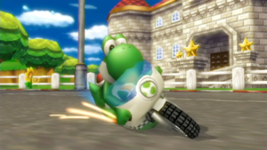 Yoshi, committing to the turn on the Mach Bike, a hang-on type bike.