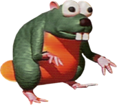Artwork of a Gnawty, from Donkey Kong Country.