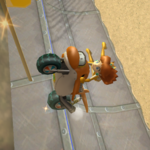 Daisy performing a Trick in Mario Kart Wii