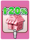 A Venture Card from Fortune Street indicating the expansion of shops by 20%