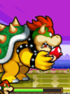 Super Bowser eating a Refreshroom during the battle against Super Peach's Castle in Mario & Luigi: Bowser's Inside Story