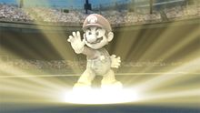Mario as a trophy, about to transform into a fighter.