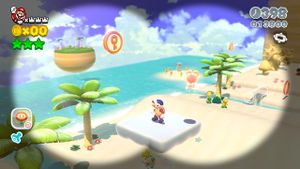 Luigi sighting in Sunshine Seaside in Super Mario 3D World.