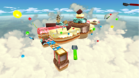 """A screenshot of Sweet Sweet Galaxy during the """"Rocky Road"""" mission from Super Mario Galaxy."""
