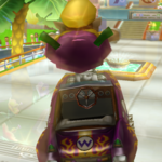Wario performing a Trick in Mario Kart Wii