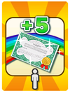 A Venture Card from Fortune Street indicating the player getting 5 stocks in all districts