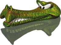 Render of green Krockhead in Donkey Kong Country 2: Diddy's Kong Quest.