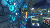 Luigi driving in N64 Toad's Turnpike from Mario Kart 8