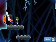 Mario hammering a nubbin in Mario & Luigi: Bowser's Inside Story and Mario & Luigi: Bowser's Inside Story + Bowser Jr.'s Journey.