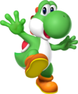 Artwork of Yoshi from Mario Party DS (also used in Mario Kart Wii, Mario & Sonic at the Olympic Winter Games and Super Mario Run)