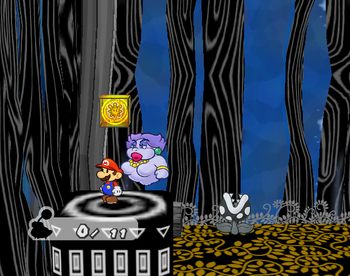 Mario next to the Shine Sprite in the airplane room of the Great Tree.