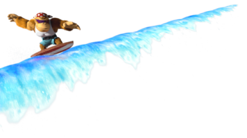 Artwork of Funky Kong surfing the waves from Play Nintendo; this is one of the possible events that occurs when clicking the? Block.