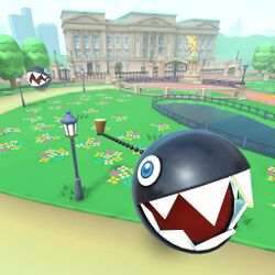 View of Chain Chomps on London Loop 2 in Mario Kart Tour