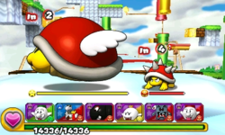 Screenshot of World 6-8, from Puzzle & Dragons: Super Mario Bros. Edition.
