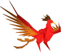 An origami Fire Vellumental from Paper Mario: The Origami King.