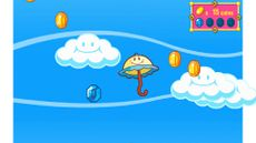 Gameplay featuring Perry, some coins, a blue gem and some clouds