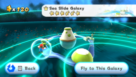 A screenshot of the Sea Slide Galaxy viewed from the Engine Room.