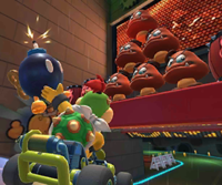The icon of the Mario Cup challenge from the Tokyo Tour and the Wario Cup challenge from the Pirate Tour in Mario Kart Tour