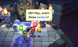Screenshot of Mario and Luigi finding Badges, from Mario & Luigi: Dream Team.
