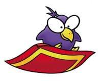 Artwork of a Pidgit riding a magic carpet from Super Mario Advance.