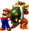 Artwork of Mario and Bowser facing back to back, from Super Mario 64.