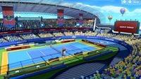 A screenshot of the Marina Stadium (Hard) Court in Mario Tennis Aces
