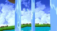 Ice Mario wall jumping up the waterfalls.