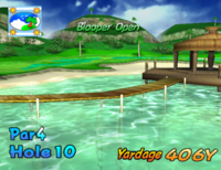The tenth hole of Blooper Bay from Mario Golf: Toadstool Tour.