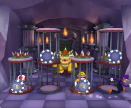 Waluigi escaping while Toad and Wario are in the cage in Cage-in Cookin' from Mario Party 5