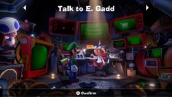 Luigi inside of Professor Elvin Gadd's lab