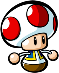 A Mini Toad as it has appeared since Mario vs. Donkey Kong: Mini-Land Mayhem.