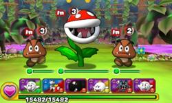 Screenshot of World 8-2, from Puzzle & Dragons: Super Mario Bros. Edition.