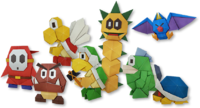 Artwork of several origami minions from Paper Mario: The Origami King