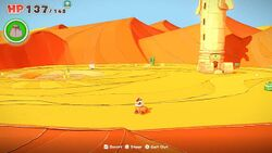 A view of Scorching Sandpaper Far East from Paper Mario: The Origami King