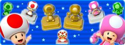"""In-game notification banner for """"Weekend Spotlight: Toad and Toadette"""" in Super Mario Run."""