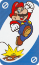 The Blue Skip card from the UNO Super Mario deck (featuring Mario and a Goomba)