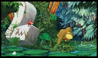 Concept art of Donkey Kong Country Returns featuring Donkey Kong and Diddy Kong adventuring in the Ruins area.