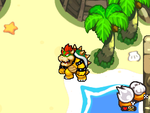 Screenshot of Bowser in Plack Beach, from Mario & Luigi: Bowser's Inside Story