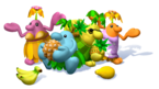 Artwork of a group of Piantas in Super Mario Sunshine, all with some fruit.