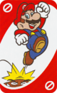 The Red Skip card from the UNO Super Mario deck (featuring Mario and a Goomba)