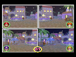 Freeze Frame at night from Mario Party 6
