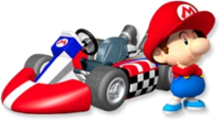 Artwork of Baby Mario with his kart from Mario Kart Wii
