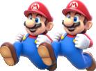 Artwork of Double Mario from Super Mario 3D World.