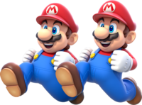 Artwork of Double Mario from Super Mario 3D World.