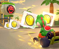 The icon of the Lemmy Cup challenge from the 2021 Los Angeles Tour in Mario Kart Tour.