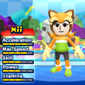 A Marine the Raccoon costume for Miis in the Wii version of Mario & Sonic at the London 2012 Olympic Games.