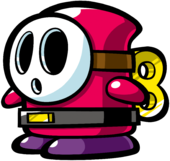 A Shy Guy from Mario vs. Donkey Kong 2: March of the Minis.