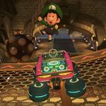 Baby Luigi performing a trick. Mario Kart 8.