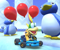 The icon of the Yoshi Cup's challenge from the Flower Tour and the Peachette Cup's challenge from the Bowser vs. DK Tour in Mario Kart Tour.